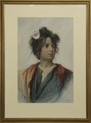 Lot 115 - A PAIR OF WATERCOLOUR PORTRAITS OF YOUNG LADIES  BY SILVIO RISEGARI