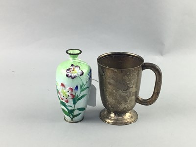 Lot 80 - A CHINESE CLOISONNE VASE, PAIR OF EWERS AND A SHIP IN A BOTTLE