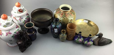 Lot 86 - A PAIR OF MODERN CHINESE LIDDED VASES, JAPANESE VASE, CLOISONNE VASES AND OTHER ITEMS