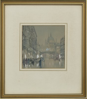 Lot 119 - ST PAULS FROM LUDGATE HILL, LONDON, A WATERCOLOUR BY CAPTAIN WILLIAM FREDERICK LONGSTAFF