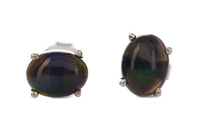 Lot 373 - A PAIR OF BLACK OPAL EARRINGS