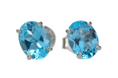 Lot 384 - A PAIR OF BLUE TOPAZ EARRINGS