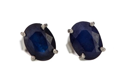 Lot 388 - A PAIR OF TREATED SAPPHIRE EARRINGS