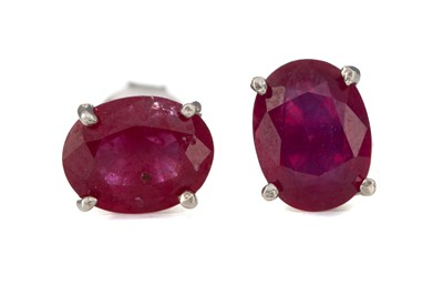 Lot 390 - A PAIR OF TREATED RUBY EARRINGS