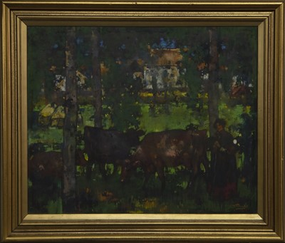 Lot 121 - CATTLE WITH FIGURES, A PASTEL BY JAMES WATTERSON HERALD