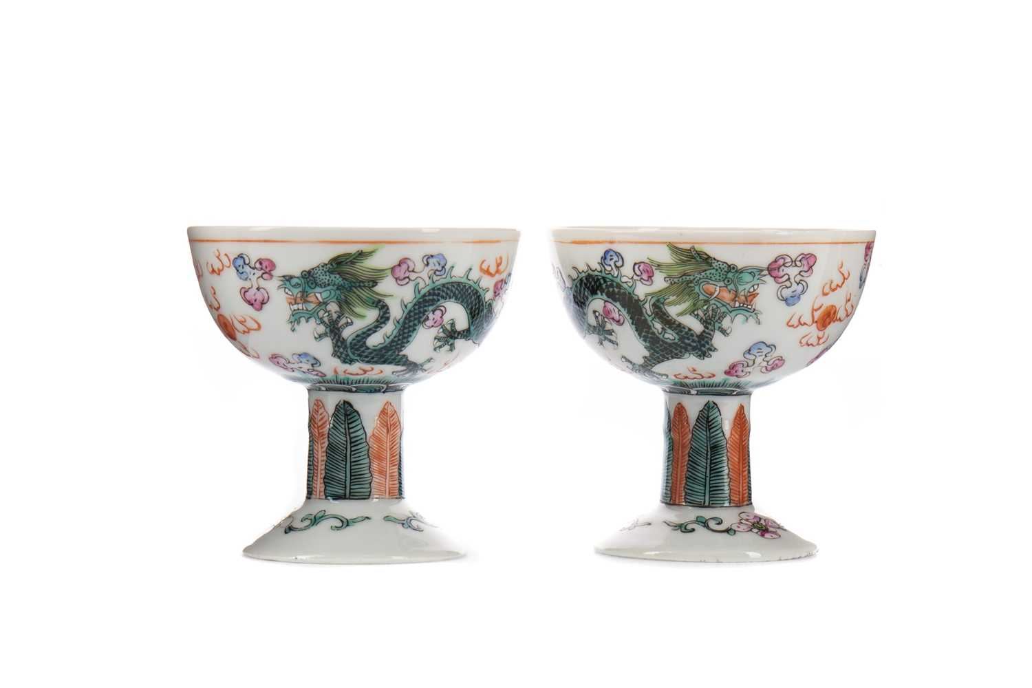 Lot 1609 - A PAIR OF 20TH CENTURY CHINESE STEMMED CUPS