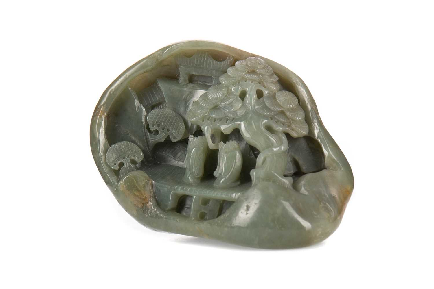 Lot 1610 - A 20TH CENTURY CHINESE JADE DESK WEIGHT