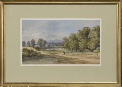 Lot 127 - A DISTANT VIEW OF THE PENTLANDS, A WATERCOLOUR BY CHARLOTTE NASMYTH