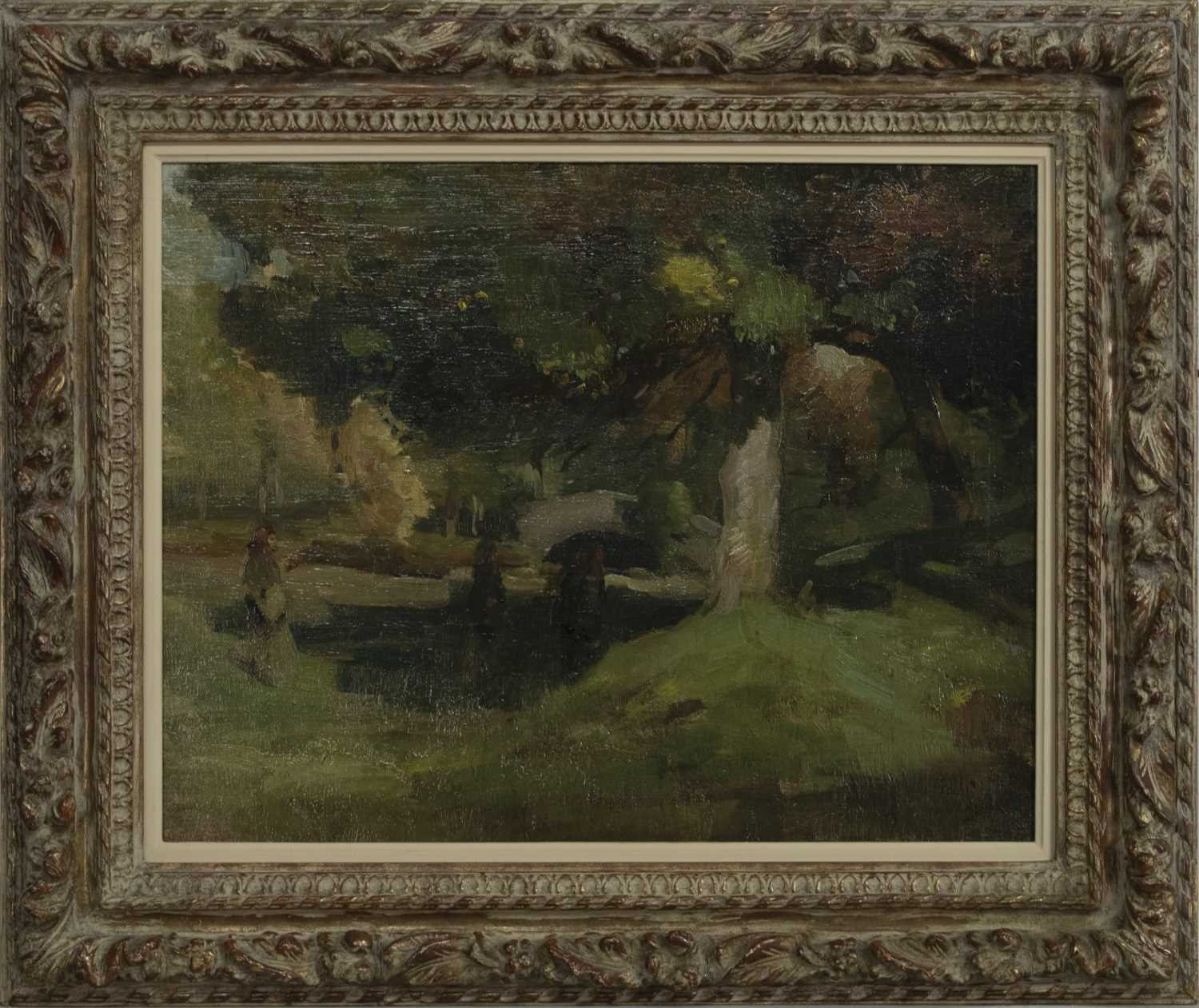 Lot 2031 - A RIVER WALK IN SUMMER, AN OIL BY THOMAS BROMLEY BLACKLOCK