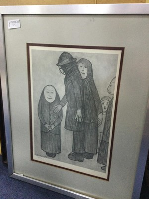 Lot 89 - A LIMITED EDITION PRINT AFTER L.S. LOWRY, ALONG WITH STURGEON, FLINT AND MCINTOSH PATRICK PRINTS