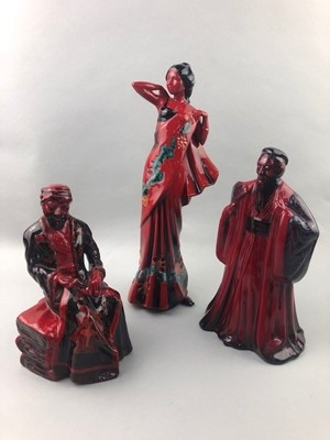 Lot 95 - A ROYAL DOULTON FIGURE OF 'FLAMBE THE CARPET SELLER' AND FIVE OTHERS