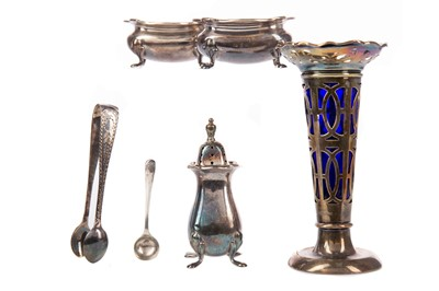 Lot 409 - A SET OF FOUR SILVER NAPKIN RINGS AND OTHER ITEMS