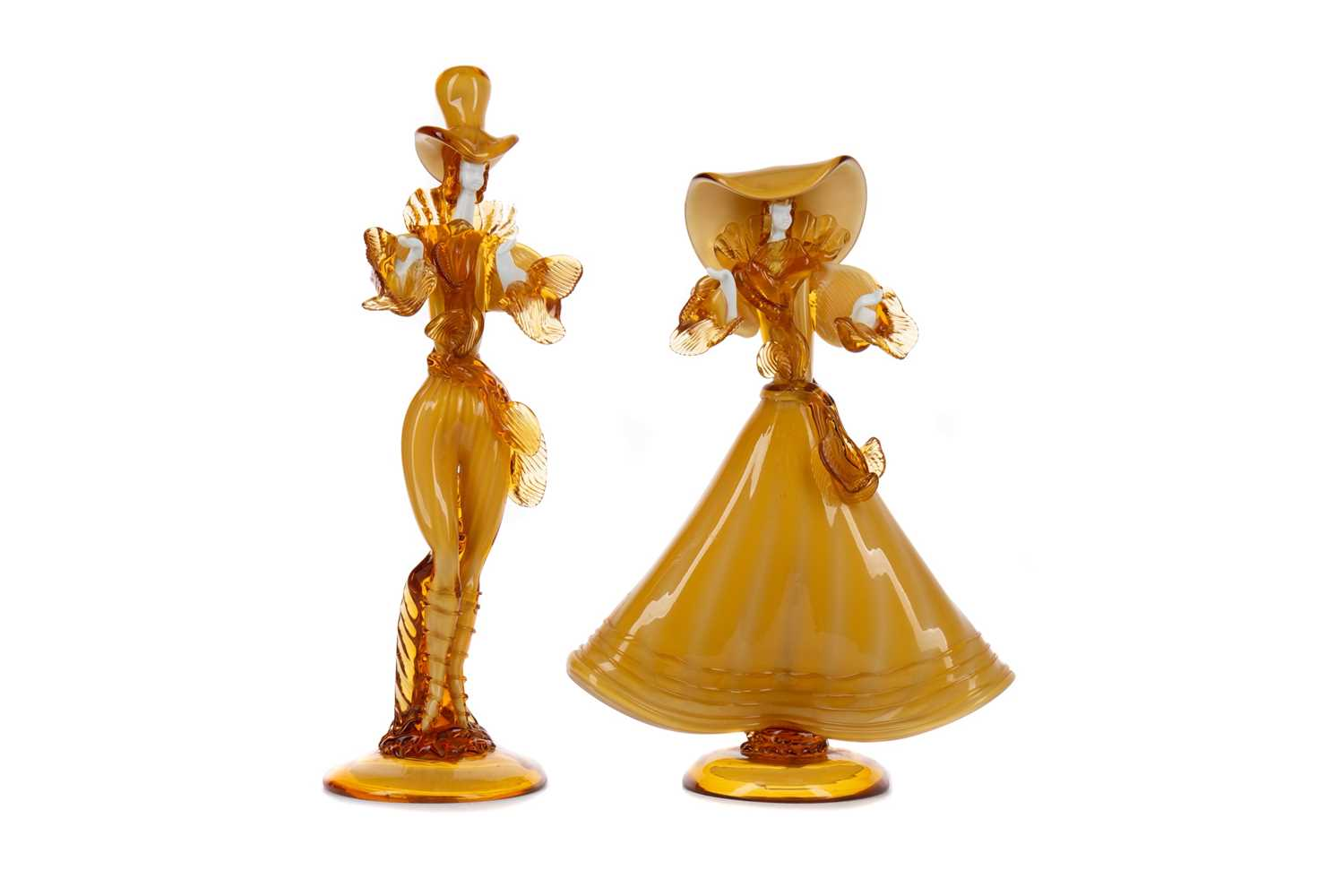 Lot 1012 - A PAIR OF MURANO GLASS FIGURES