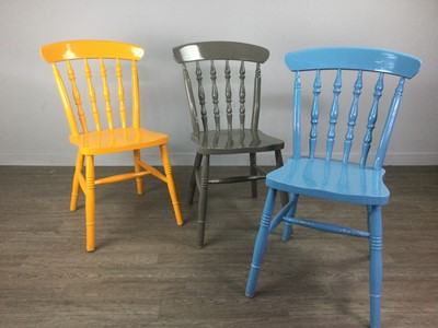 Lot 1326 - A SET OF SIX RAIL BACK DINING CHAIRS