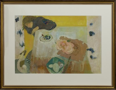 Lot 559 - GIRL AND DOG AT A TABLE, A GOUACHE BY BRENDA LENAGHAN