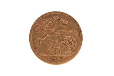 Lot 38 - AN EDWARD VII GOLD HALF SOVEREIGN DATED 1905