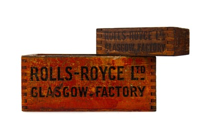 Lot 1303 - TWO 'ROLLS-ROYCE LTD. GLASGOW FACTORY' BOXES