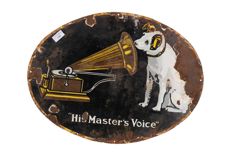 Lot 1305 - A HMV ENAMEL ADVERTISEMENT SIGN