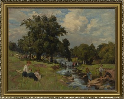 Lot 140 - A DAY BESIDE THE BURN, AN OIL BY AGNES M COWIESON