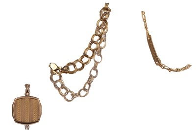 Lot 809 - TWO GOLD BRACELETS AND A LOCKET