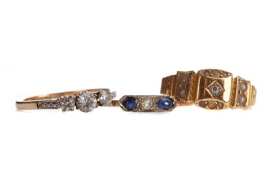 Lot 815 - A VICTORIAN DIAMOND AND SEED PEARL RING AND TWO GEM SET RINGS