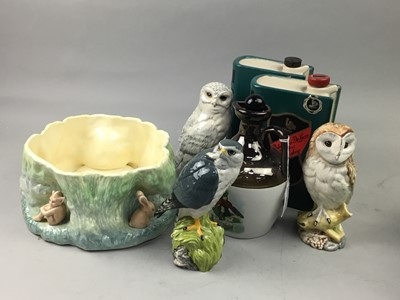 Lot 41 - A LOT OF THREE ROYAL DOULTON BIRDS OF PREY WHISKEY DECANTERS AND OTHER CERAMICS