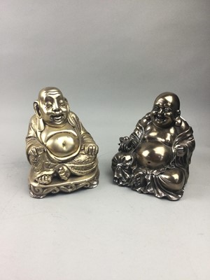 Lot 46 - A LOT OF TWO SILVERED COMPOSITION BUDDHA FIGURES