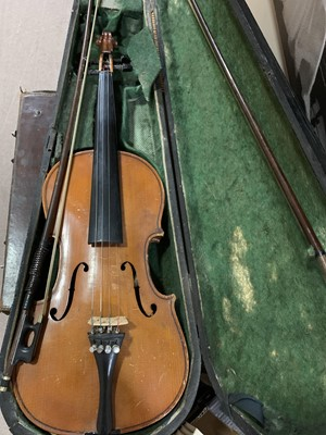 Lot 47 - A VINTAGE VIOLIN AFTER STRADIVARIUS AND TWO BOWS