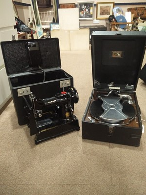 Lot 48 - A VINTAGE PORTABLE RECORD PLAYER AND A SINGER SEWING MACHINE