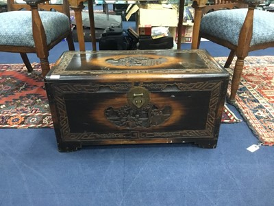 Lot 49 - A CHINESE CARVED WOOD BLANKET CHEST