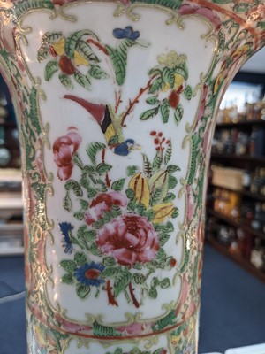 Lot 1618 - A LATE 19TH CENTURY CHINESE CANTON FAMILLE ROSE CYLINDRICAL VASE