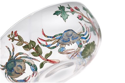 Lot 1049 - HANNAH MOORE WALTON (1863-1940) - A SET OF FOUR GLASS FINGER BOWLS