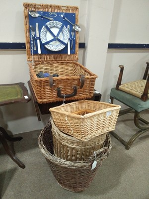 Lot 53 - A PICNIC SET CONTAINED IN A WICKER BASKET AND ANOTHER BASKET