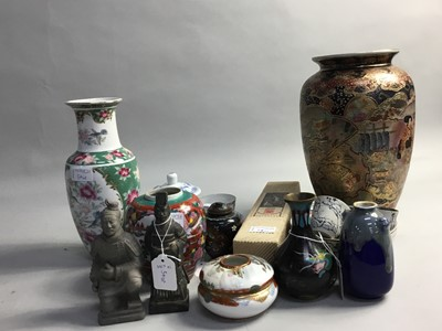 Lot 54 - A JAPANESE CLOISONNE VASE AND OTHER VASES AND FIGURES