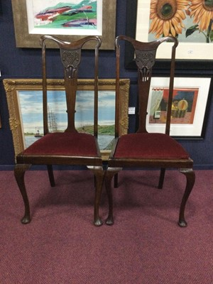 Lot 77 - A SET OF FOUR MAHOGANY DINING CHAIRS