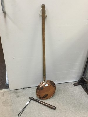 Lot 85 - A COPPER BED WARMING PAN AND A TRUNCHEON