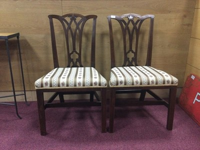 Lot 71 - A PAIR OF GEORGE III MAHOGANY DINING CHAIRS