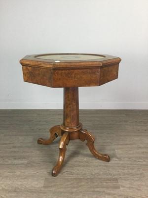 Lot 1340 - A VICTORIAN WALNUT OCTAGONAL NEEDLEWORK TABLE