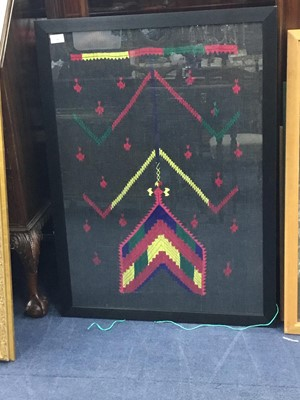 Lot 28 - A LOT OF TWO FRAMED PAKISTANI EMBROIDERIES AND TWO PAINTINGS