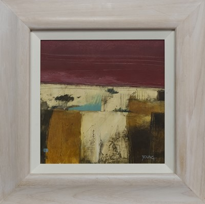 Lot 501 - RED AND AMBER, AN ACRYLIC BY GEORGIE YOUNG