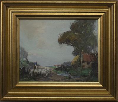 Lot 56 - SHEPHERDESS AND HER FLOCK, EAST LOTHIAN, AN OIL BY WILLIAM WATT MILNE