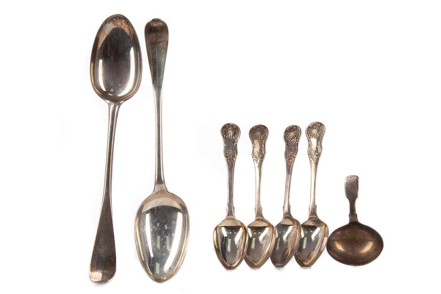 Lot 423 - A PAIR OF SILVER HANOVERIAN PATTERN TABLE SPOONS AND OTHERS