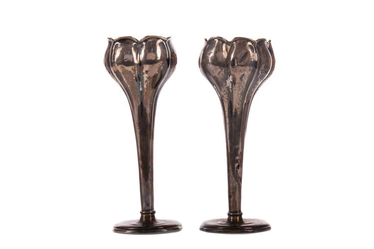 Lot 424 - A PAIR OF SILVER BUD VASES, PEPPER POT AND GROUP OF SILVER SPOONS