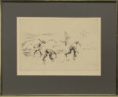 Lot 145 - CHILDREN PLAYING, AN ETCHING BY EDMUND BLAMPIED