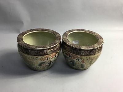 Lot 11 - A PAIR OF 20TH CENTURY JAPANESE STONEWARE PLANTERS