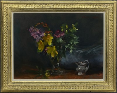 Lot 520 - NO. 36, FLOWERS WITH MY SMALLEST JUG, AN OIL BY GEORGE J D BRUCE