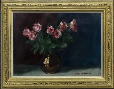 Lot 521 - NO. 44, PINK ROSES IN LUSTRE, AN OIL BY GEORGE J D BRUCE