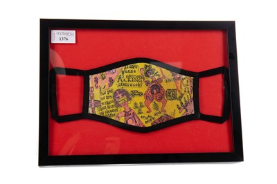 """Lot 1376 - GRAYSON PERRY """"WE SHALL CATCH IT ON THE BEACHES"""" FACE COVERING"""