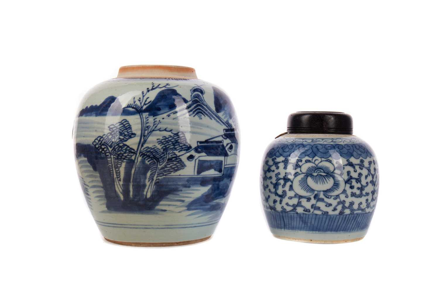 Lot 1625 - A 20TH CENTURY CHINESE BLUE AND WHITE JAR, ANOTHER JAR AND A BOWL