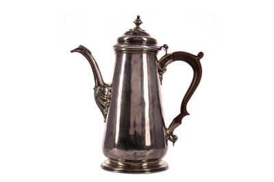 Lot 430 - A GEORGE II SILVER COFFEE POT